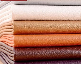 Colorful Litchi grain, Artificial Leather, Faux Leather Sheets Fabric, PU Leather Fabric, Soft Matte Imitation Leather, by the 1/2 yard