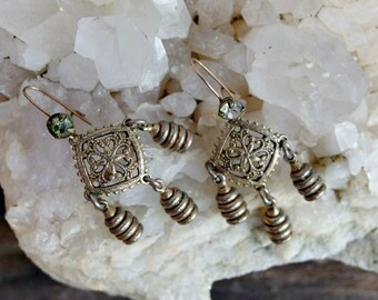 Very Vintage Pierced Dangle Earrings with Gold Filled Wires, Rhinestones, Filigree Centers and Solid Drops, Possibly 1930s Vintage or Older