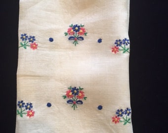 Vintage Ecru Linen Tea Towel, Embroidered Tea Towel, Blue and Pink Flowers, Hostess Gift, Shabby Chic