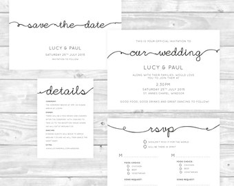Black and White Simple Wedding Invitation Printable Set. Save the Date, Invite, RSVP, Details