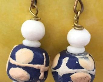 African Hand Painted Bead Pierced Earrings