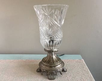 Crystal Hurricane Lamp Vintage Silver and Crystal Accent lamp Table lamp