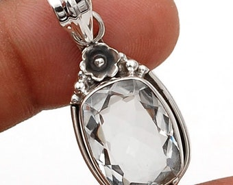 8 ct. White Topaz Pendant, 1.5 inches long, Sterling Silver Jewelry, Gifts