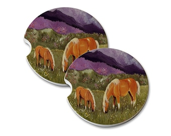 Belgian Mare and Foal High Valley Spring Natural Sandstone Drink Coaster Set Home Decor Car Coaster Belgian horse gift Belgian horse art