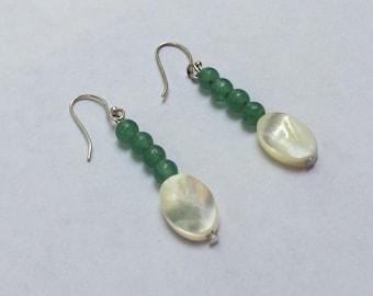 """Earrings: Aventurine, and Mother of Pearl  """"Elegant"""""""