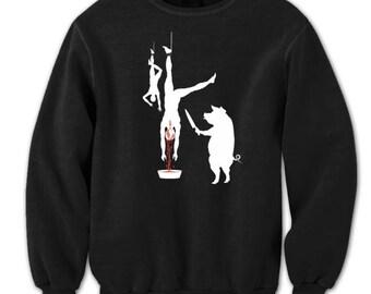 Pig Line Butcher Vegetarian Vegan Funny Humor Crewneck Sweatshirt DT0372