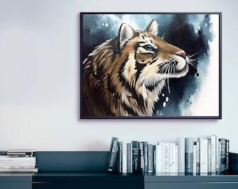 Tiger acrylic painting. Original artwork. 24 x 18 inches.