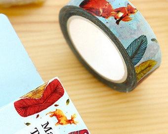 Masking Tape-Vintage - retro hübsche Washi-Tape mit Tieren im Wald