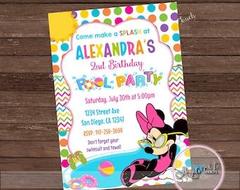 Minnie Mouse Pool Party Invitation Birthday Nvitation Digital File