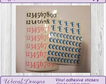 Number Stickers, Letter stickers, alphabet sticker, vinyl numbers, sticker sheets, script letters, Planner, individual letters, scrapbook