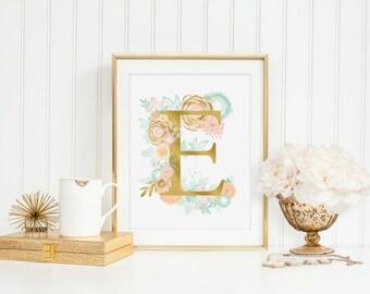 Letter E Peach And Mint Print Wall Art Watercolor Flowers Baby Boy Nursery Inspirational Alphabet