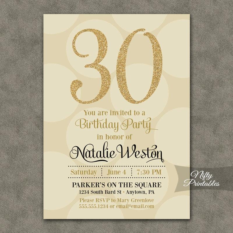 30th Birthday Invitations Cream & Gold Thirtieth Birthday