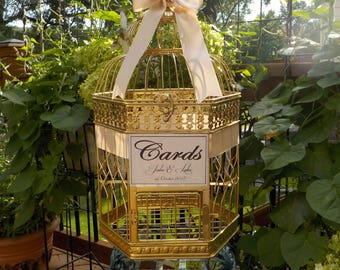 Large Gold Bird Cage Wedding Card Holder, Money Holder, Shower Cards, Wedding Cards, Personalized Colors, Text, Ribbon, Wedding Card Box