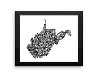 West Virginia typography map art FRAMED print customizable personalized custom state poster wall decor engagement wedding housewarming gift