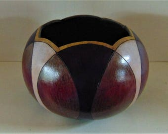 Original, One of a kind, Hand Crafted, Art Gourd Bowl, Signed by the artist