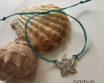 Seashell Jewelry ... Wish Bracelet ... Adjustable ... Starfish on Blue  (1469)
