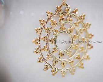 Mandala Necklace - Large Natural Bronze Snow Flake Pendant - 14K Gold Filled Delicate Chain - Insurance Included