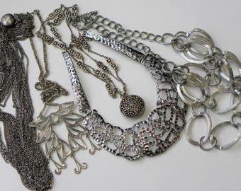 Vintage silver necklace lot, vintage necklace lot, silver tone necklace lot, vintage necklaces, vintage jewelry lot, destash necklace lot