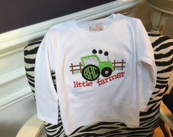 Little Farmer initial applique t- shirt.