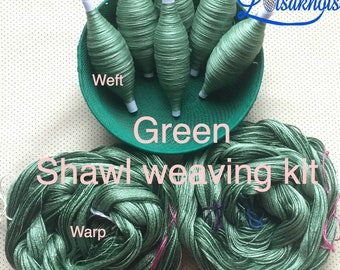 Green Weaving Kit, Shawl kit, Weaving Loom Kit, How to Weave Kit, Loom Weaving, DIY Weaving Kit, Pre-wound Warp, Handweaving