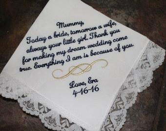 Personalized wedding handkerchief - mother of the bride gift hankerchief - embroidered hankerchief