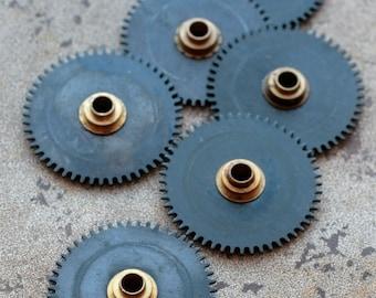 Vintage clock gears -- black -- set of 6