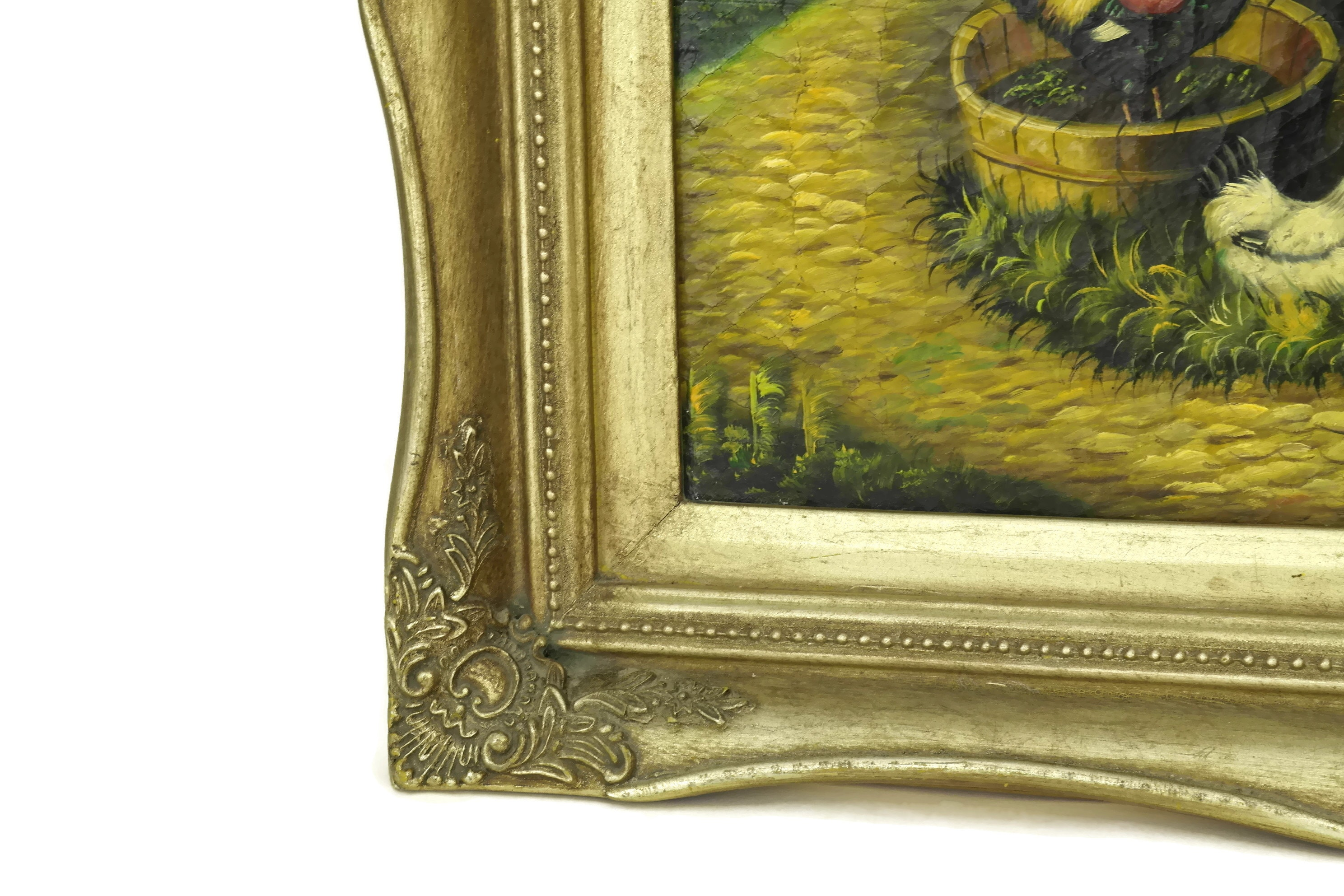 Vintage Farmyard Chicken & Rooster Painting in Gold Frame. French ...