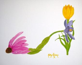 Coneflower & Crocus Flower Shoe Print