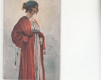 "1910 Sergei Solomko Russian Artist,""Parisienne"" Beautiful Woman And Costume Antioque Postcard"