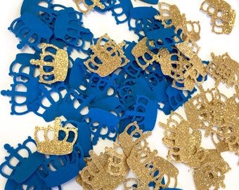 Royal Prince Baby Shower | Prince Gold Crown Confetti | Royal Blue and Gold Confetti | Little Prince Party |1st Happy Birthday Decor | 100CT