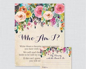Who Am I Bridal Shower Game - Printable Floral Bridal Shower Memory Game - Memory With the Bride Guessing Game - Shabby Chic Garden 0002-A