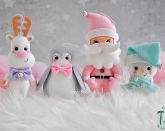 pastel christmas set of 4 or 8 christmas ornaments felt winter ornaments christmas