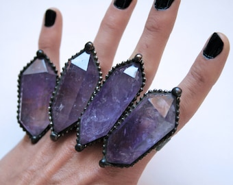 Massive Amethyst Double Terminated Crystal Point Ring