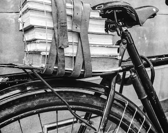 """Vintage Bicycles, Library Decor, Vintage Books, Book Photography, Black and White, Fine Art Photography, """"Books on Bike - B&W"""""""