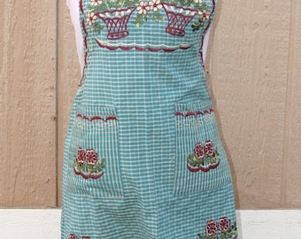New Small BueFloral Embroidered Folk Peasant Traditional Mexican Multi-use Apron.
