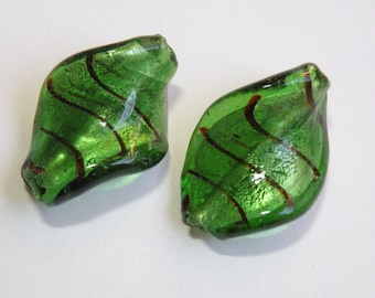 Twisted Leaves Lampwork Glass Beads emerald green brown foil focal beads 30x20mm JO42