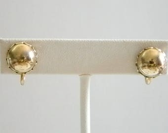 Gold Tone Button Style Screw Back Earrings