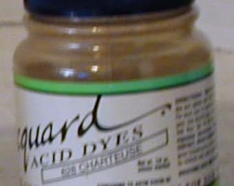 Chartreuse 628 Jacquard Acid Dye for Wool, Silk, Feathers, Nylon, any protein (animal) fiber. Add vinegar and  heat to powder.