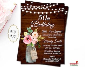 50th birthday invitation etsy 50th birthday invitation rustic birthday invitation mason jar floral surprise birthday invitation filmwisefo Images
