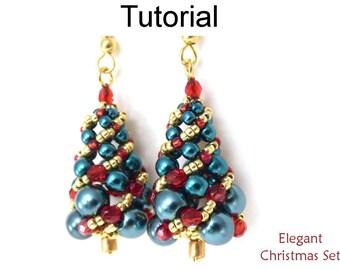 Christmas Beading Pattern - Beaded Earrings Necklace Jewelry Making Pattern - Simple Bead Patterns - Elegant Christmas Set #17158