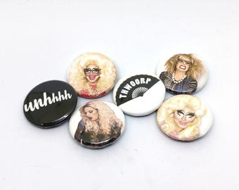 "UNHhhh Trixie and Katya Drag Queen 4-Pack of 1"" Buttons/Magnets - Thwoorp Fan - Trixie Mattel and Katya Zamolodchikova"