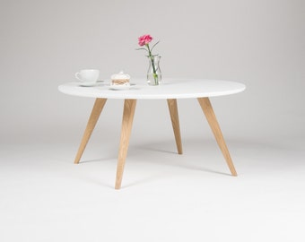 White Round Coffee Table, With Solid Oak Legs, Scandinavian Design