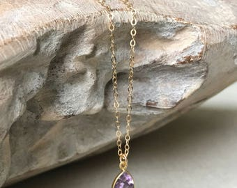 Small Gold Trillion Cut Amethyst Bezel Necklace