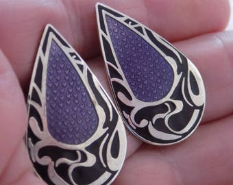 "Vintage earrings, signed ""Roccoco"" lavender and black enamel stud earrings, retro jewelry"