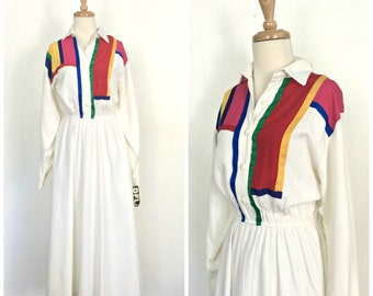Vintage 80s Dress - color block - Mondrian style - shirtwaist - circle skirt - full skirt - NWT - M L