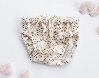 Baby Bloomers / Toddler Bloomers / Diaper Cover / Cream Copper Wildflower Bloomers / Baby Shorts / Kid Shorts