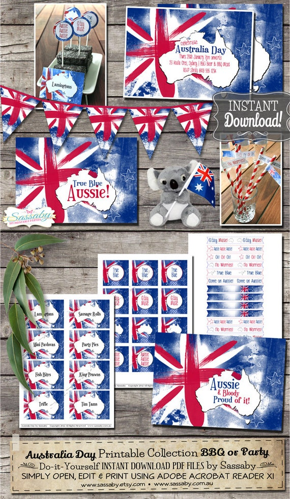 Australia Day Party Collection INSTANT DOWNLOAD