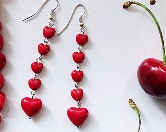 Long Heart Earrings, Dark Red Earrings, Romantic Earrings, Red Bridesmaid Earrings, Gift for Girlfriend, Charity Earrings, Charity Donation
