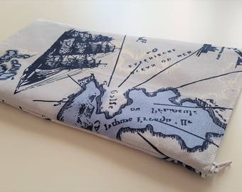 World Map Blue- Apple Magic Keyboard Sleeve, Apple Keyboard Case, Samsung Wireless Keyboard Sleeve - Padded and Zipper Closure