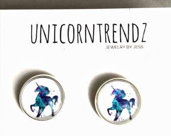 Unicorn Gift, Unicorn Earrings, Unicorn Studs, Unicorn Jewelry, Unicorn Accessory,  Magical Earrings, Hypoallergenic Unicorn, Horse Gift